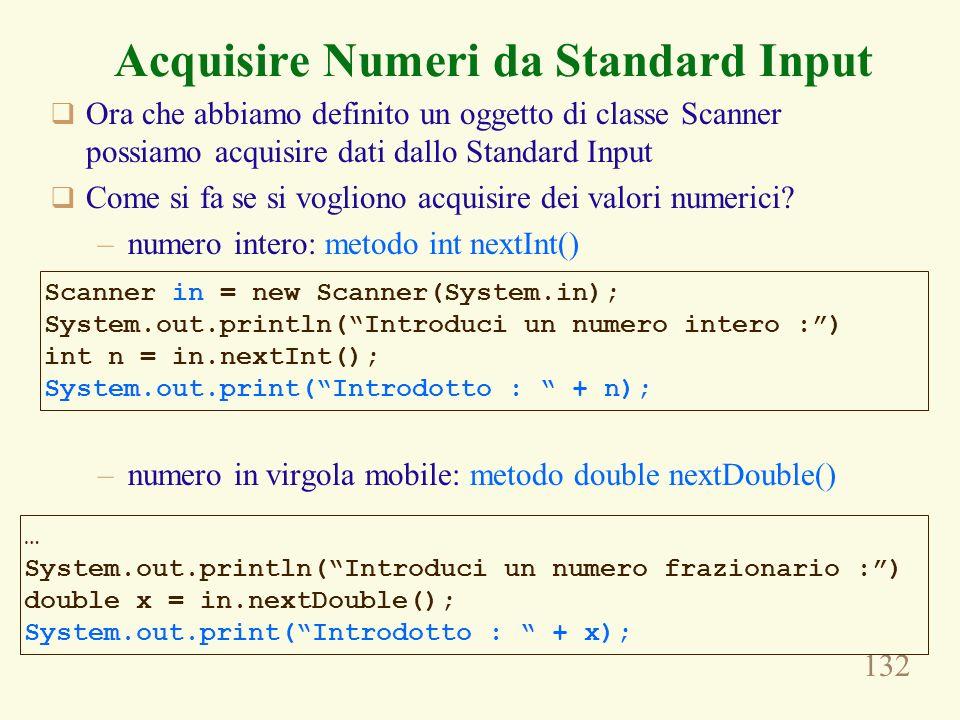 Acquisire Numeri da Standard Input