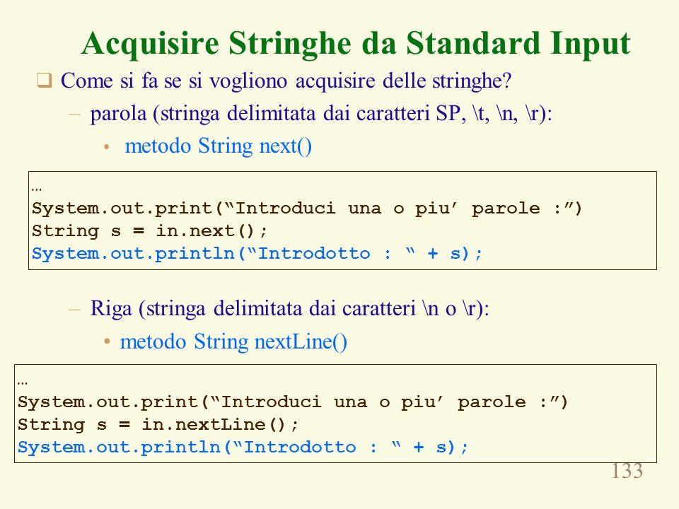 Acquisire Stringhe da Standard Input