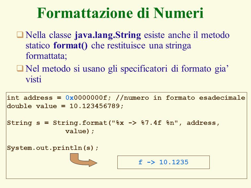 Formattazione di Numeri