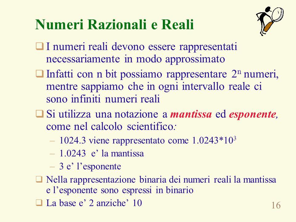 Numeri Razionali e Reali