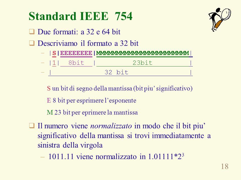 Standard IEEE 754 Due formati: a 32 e 64 bit