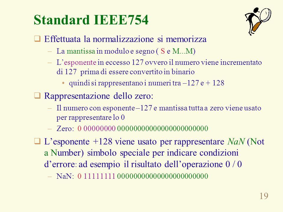 Standard IEEE754 Effettuata la normalizzazione si memorizza