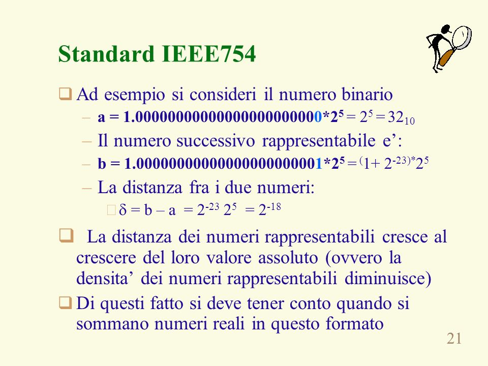 Standard IEEE754Ad esempio si consideri il numero binario. a = 1.00000000000000000000000*25 = 25 = 3210.