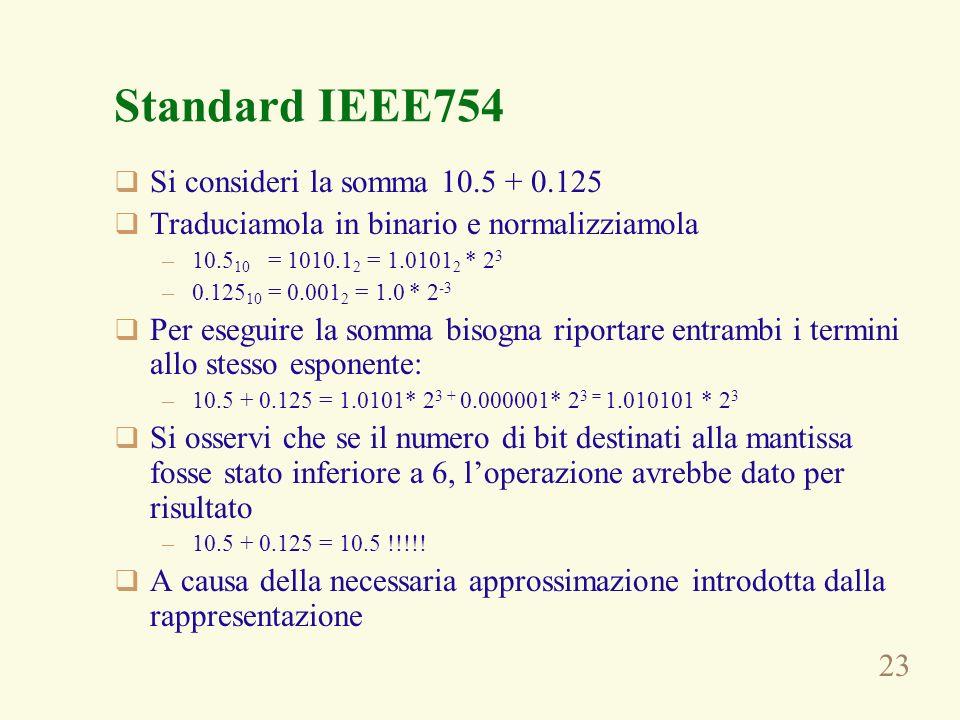 Standard IEEE754 Si consideri la somma 10.5 + 0.125