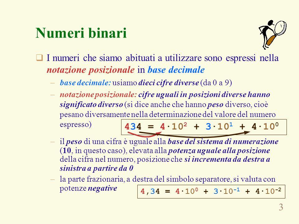 Numeri binari I numeri che siamo abituati a utilizzare sono espressi nella notazione posizionale in base decimale.