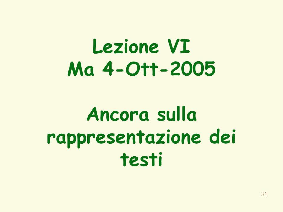 Lezione VI Ma 4-Ott-2005 Ancora sulla rappresentazione dei testi
