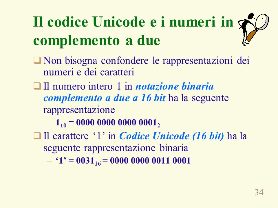 Il codice Unicode e i numeri in complemento a due