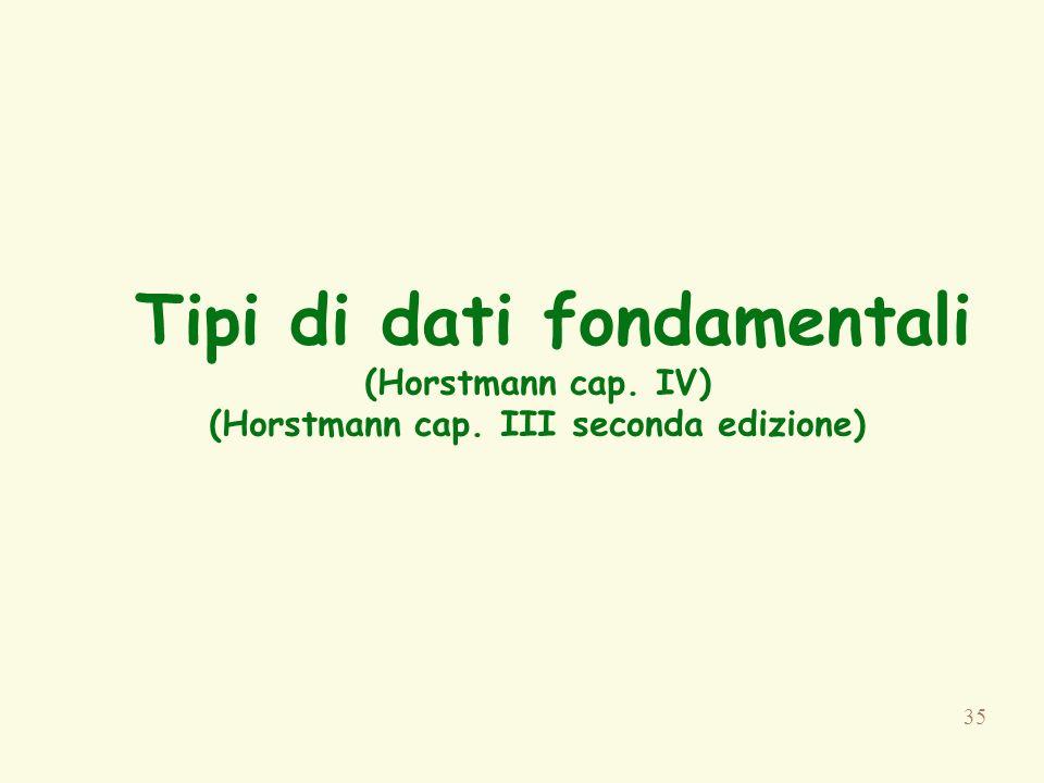 Tipi di dati fondamentali (Horstmann cap. IV) (Horstmann cap