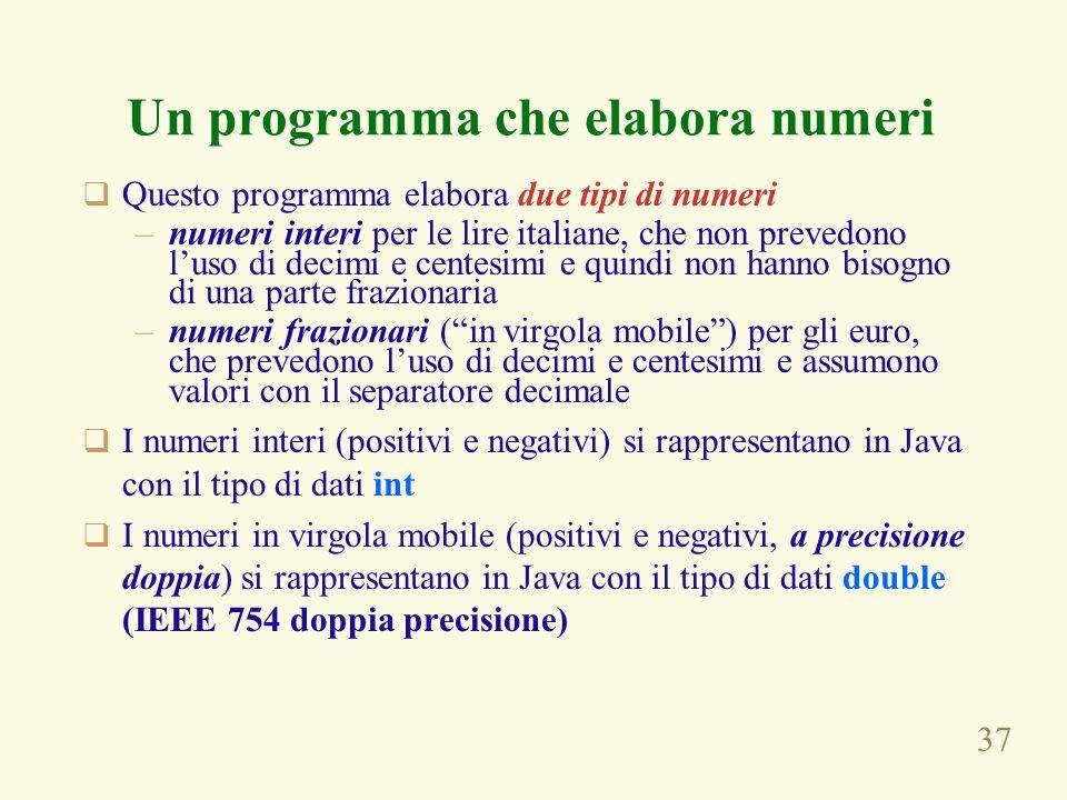 Un programma che elabora numeri