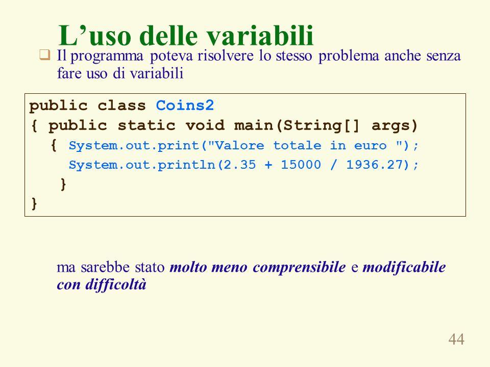 L'uso delle variabili Il programma poteva risolvere lo stesso problema anche senza fare uso di variabili.
