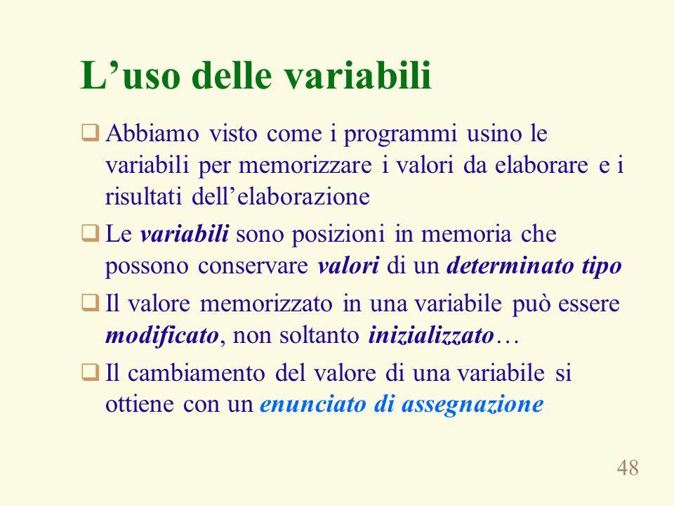 L'uso delle variabili Abbiamo visto come i programmi usino le variabili per memorizzare i valori da elaborare e i risultati dell'elaborazione.