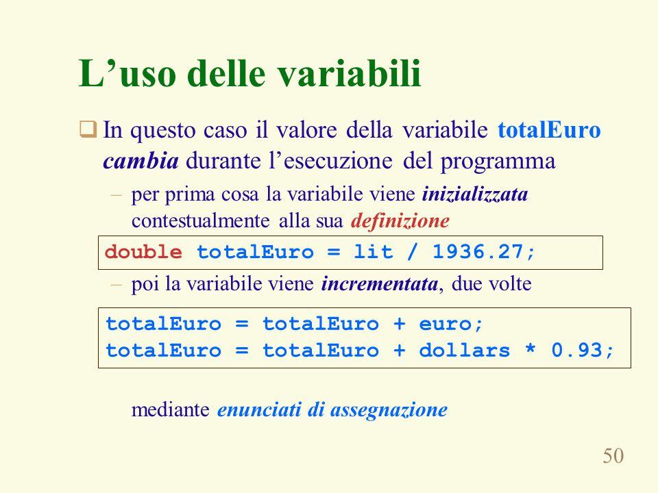L'uso delle variabili In questo caso il valore della variabile totalEuro cambia durante l'esecuzione del programma.