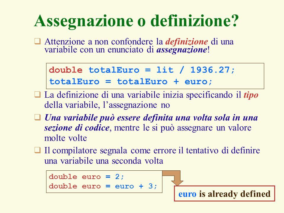 Assegnazione o definizione