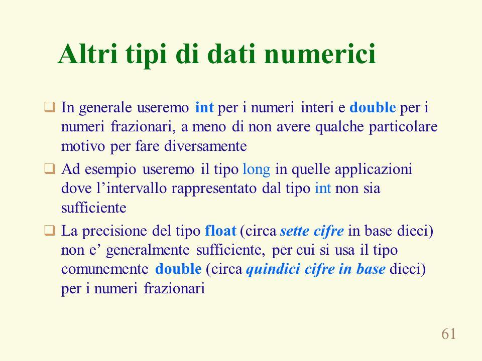 Altri tipi di dati numerici