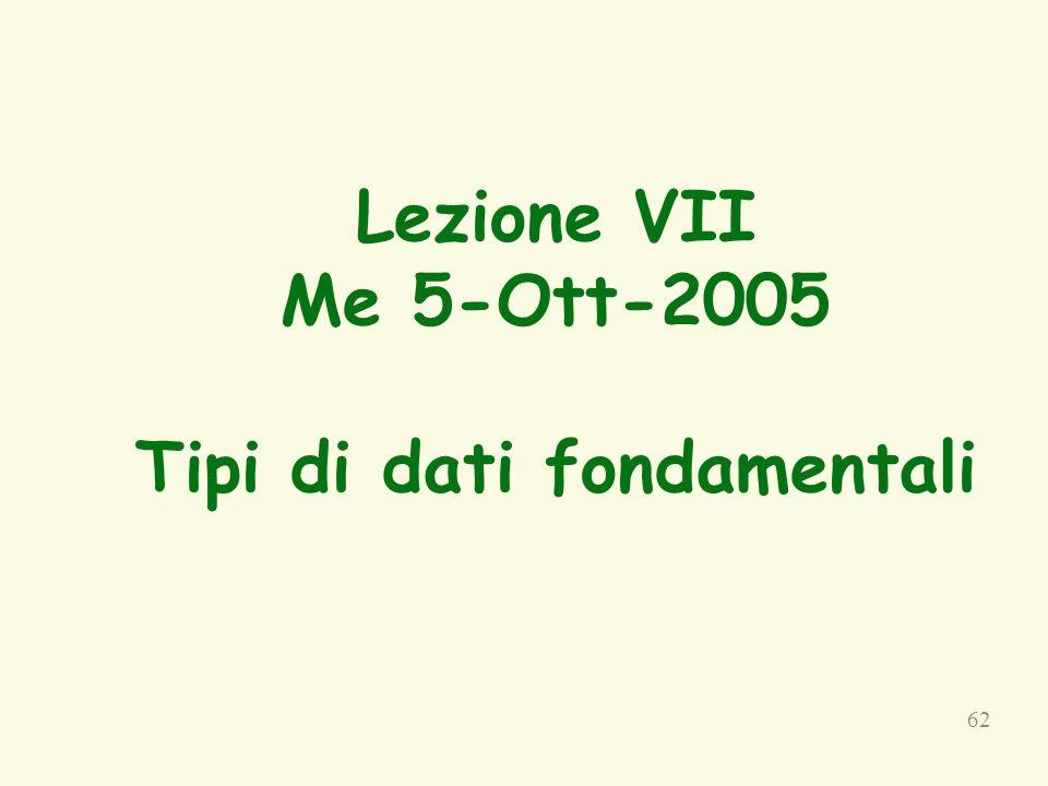 Lezione VII Me 5-Ott-2005 Tipi di dati fondamentali