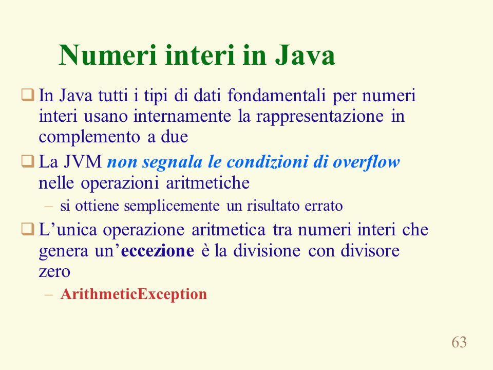 Numeri interi in Java In Java tutti i tipi di dati fondamentali per numeri interi usano internamente la rappresentazione in complemento a due.