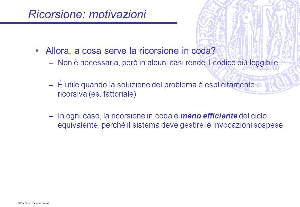 Ricorsione: motivazioni