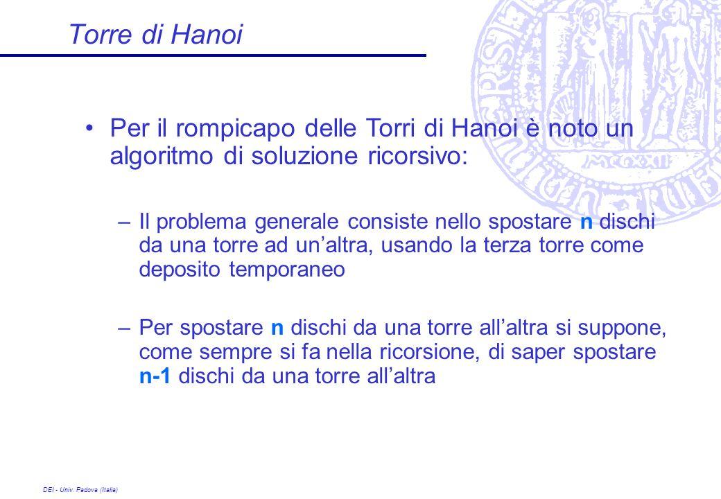 Torre di Hanoi Per il rompicapo delle Torri di Hanoi è noto un algoritmo di soluzione ricorsivo: