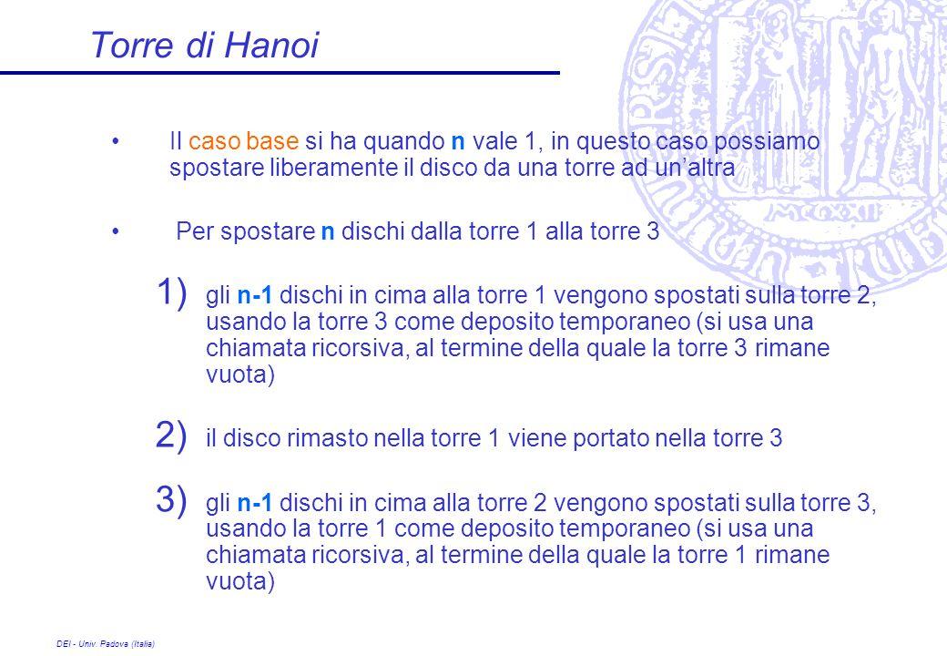Torre di Hanoi Il caso base si ha quando n vale 1, in questo caso possiamo spostare liberamente il disco da una torre ad un'altra.