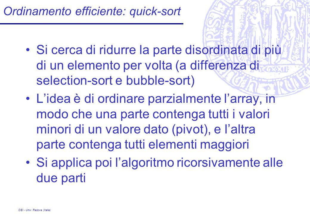 Ordinamento efficiente: quick-sort