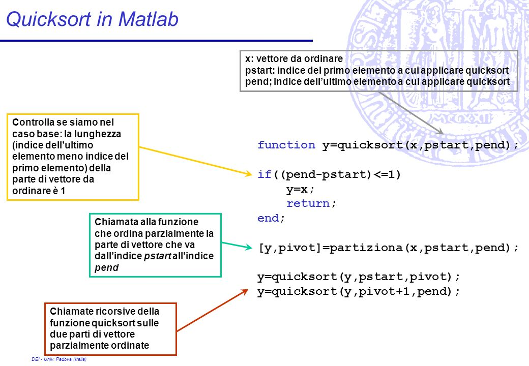 Quicksort in Matlab function y=quicksort(x,pstart,pend);