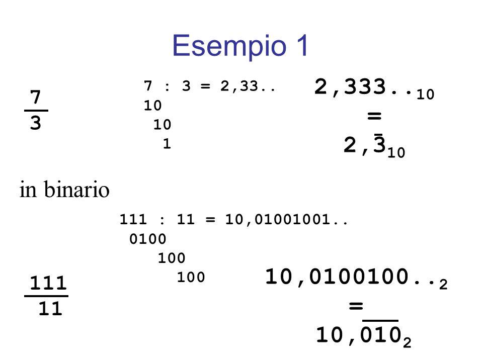 Esempio 1 2,333..10. = 2,310. 7 : 3 = 2,33.. 10. 1. 7. 3. in binario. 111. 11. 111 : 11 = 10,01001001..