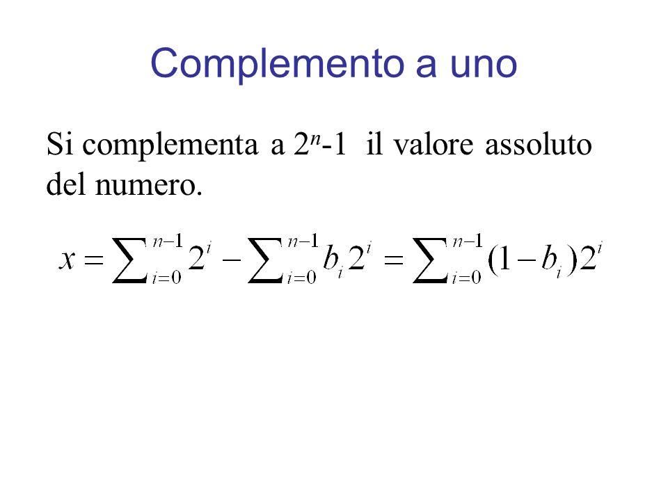 Complemento a uno Si complementa a 2n-1 il valore assoluto del numero.