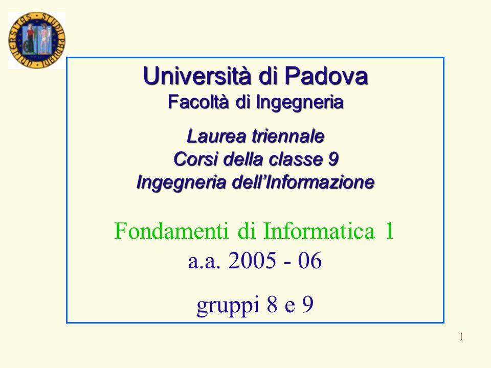 Università di Padova Facoltà di Ingegneria