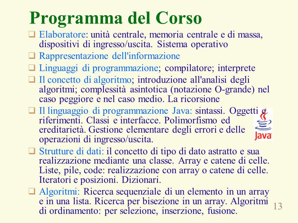 Programma del Corso Elaboratore: unità centrale, memoria centrale e di massa, dispositivi di ingresso/uscita. Sistema operativo.
