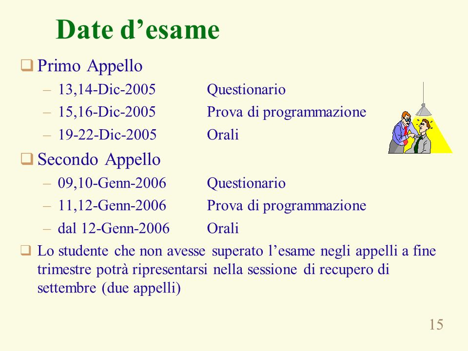 Date d'esame Primo Appello Secondo Appello 13,14-Dic-2005 Questionario