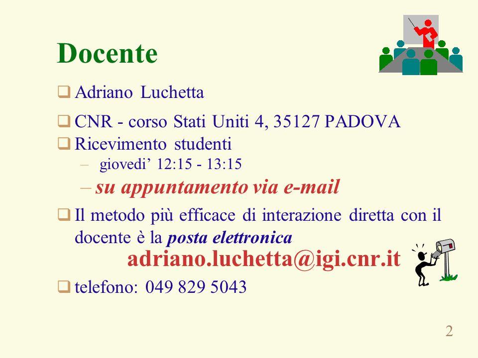 Docente adriano.luchetta@igi.cnr.it su appuntamento via e-mail