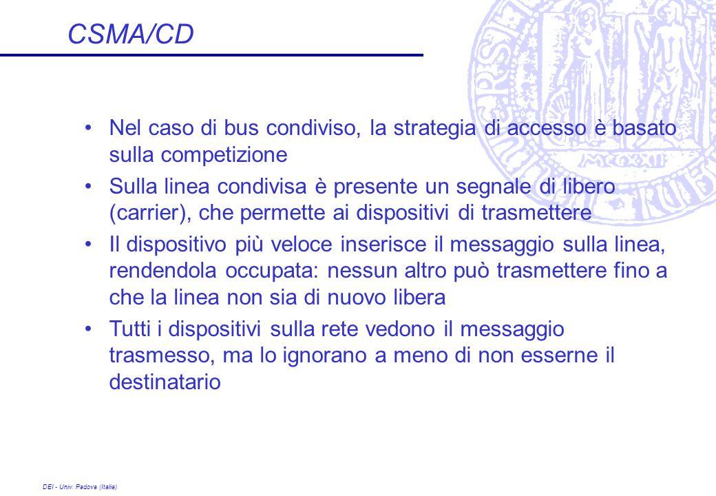 CSMA/CD Nel caso di bus condiviso, la strategia di accesso è basato sulla competizione.