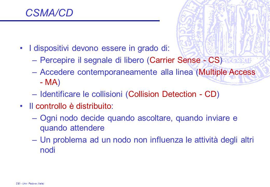 CSMA/CD I dispositivi devono essere in grado di: