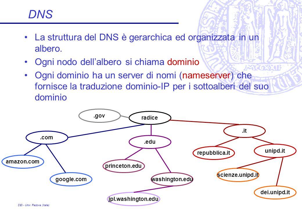 DNS La struttura del DNS è gerarchica ed organizzata in un albero.