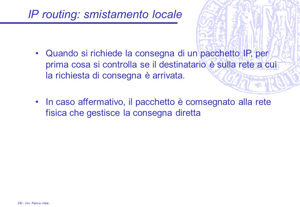 IP routing: smistamento locale