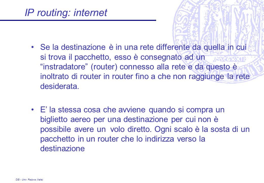IP routing: internet