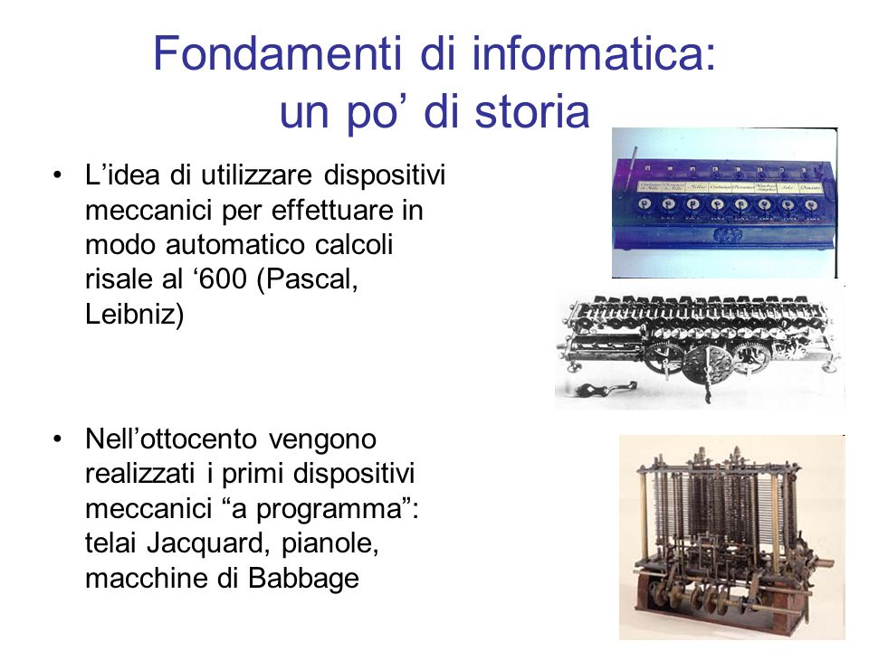 Fondamenti di informatica: un po' di storia