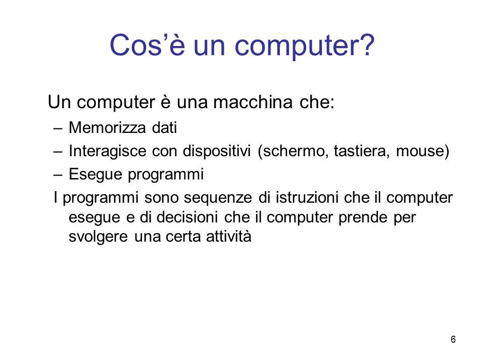 Cos'è un computer Un computer è una macchina che: Memorizza dati