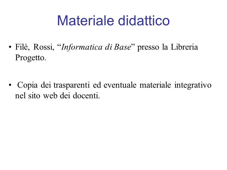 Materiale didattico Filè, Rossi, Informatica di Base presso la Libreria Progetto.