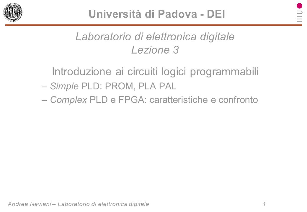 Laboratorio di elettronica digitale Lezione 3