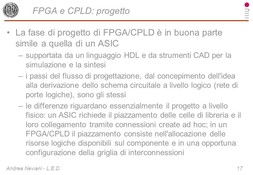FPGA e CPLD: progetto La fase di progetto di FPGA/CPLD è in buona parte simile a quella di un ASIC.
