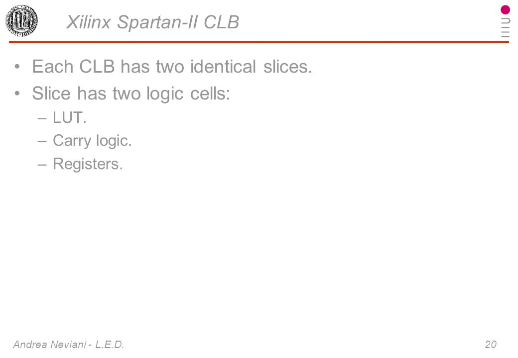 Each CLB has two identical slices. Slice has two logic cells: