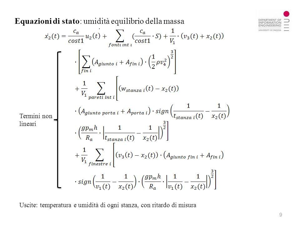 Equazioni di stato: umidità equilibrio della massa