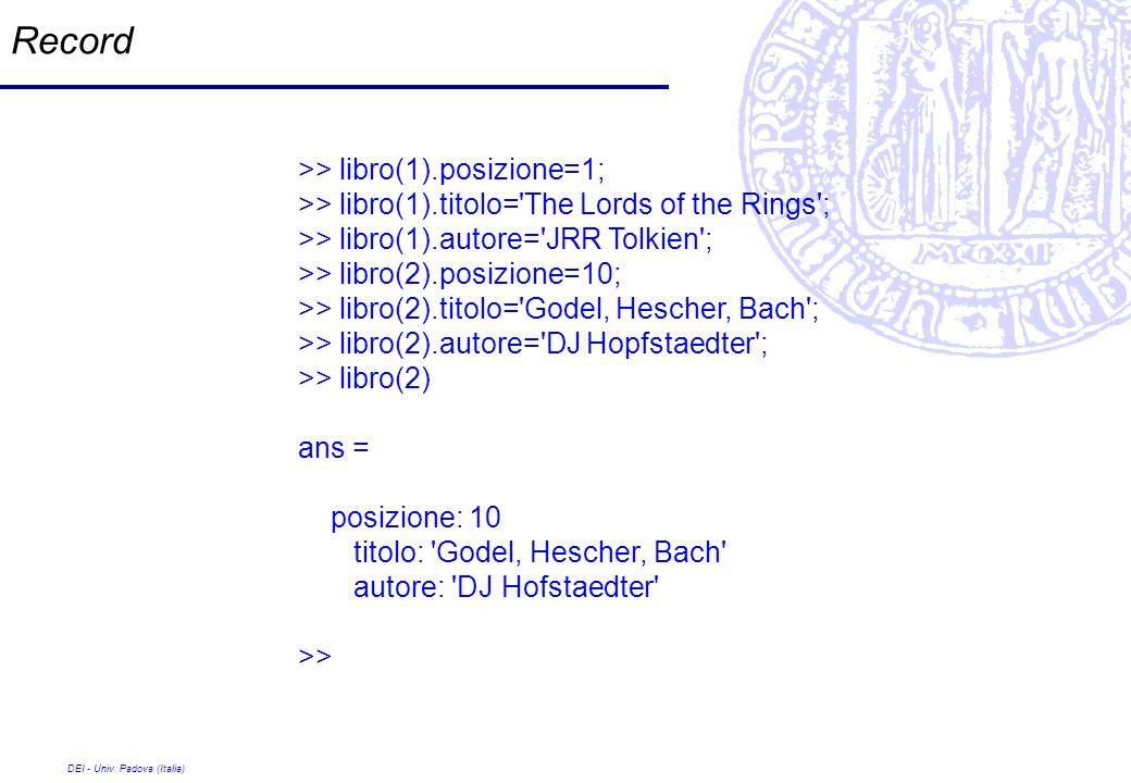 Record >> libro(1).posizione=1;