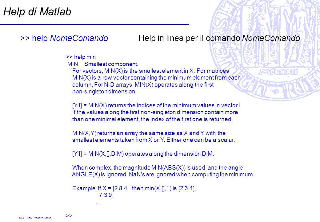 Help di Matlab>> help NomeComando Help in linea per il comando NomeComando. >> help min. MIN Smallest component.