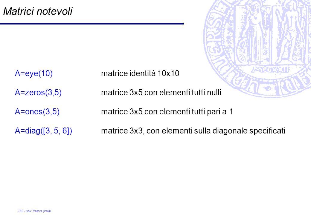 Matrici notevoli A=eye(10) matrice identità 10x10