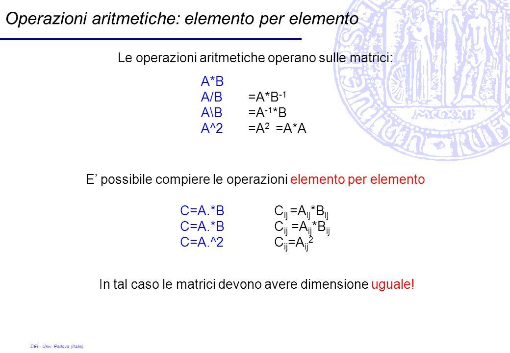 Operazioni aritmetiche: elemento per elemento