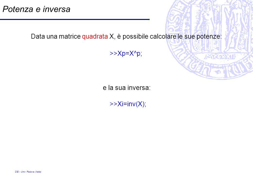 Potenza e inversa Data una matrice quadrata X, è possibile calcolare le sue potenze: >>Xp=X^p; e la sua inversa: