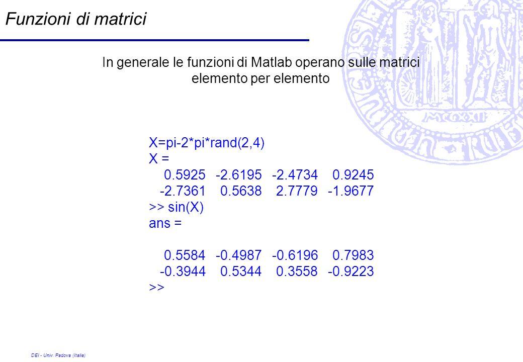 Funzioni di matrici In generale le funzioni di Matlab operano sulle matrici elemento per elemento. X=pi-2*pi*rand(2,4)