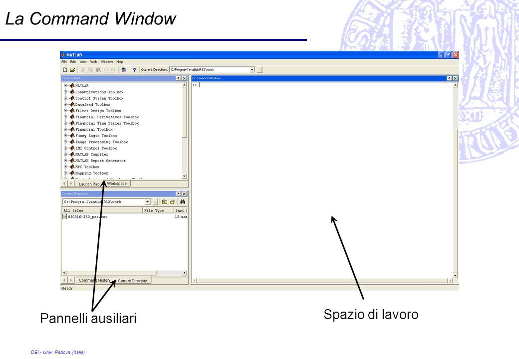 La Command Window Spazio di lavoro Pannelli ausiliari